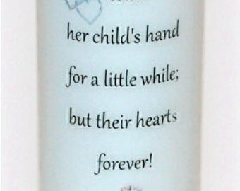 A mother holds her child's hand, Mother's Day candle keepsake, personalized or custom everlasting designed candle gift for mom under the wax