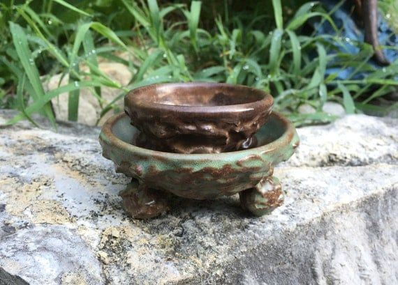 set of two small shino green and brown bowls with textured exterior
