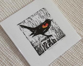 Red Winged Blackbird small wood block print