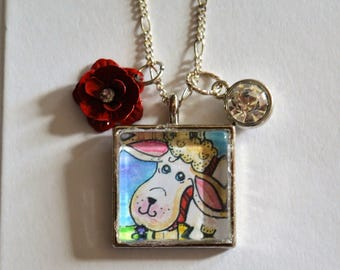 Sheep Necklace, Sheep Pendant, Irish Sheep, Sheep Watercolor, Artist Made, Glass Sheep, Sheep Painting, Irish Sheep Art, Sheep W Flower