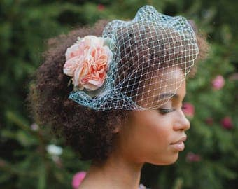 "Bandeau birdcage veil, Bridal netting blusher, Ivory or White net, Double gold comb base, 10"" blusher veil, Bandeau bridal veil"