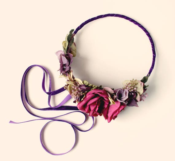 Magenta rose crown, Woodland flower wreath, Wedding hair crown, Bridal floral wreath, Purple and red, Plum fall crown, Autumn bridal hair