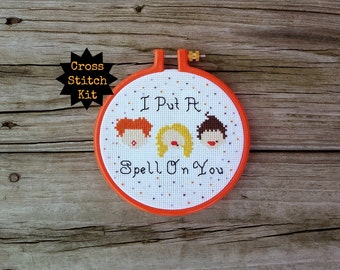 Cross Stitch Kit Beginner, Halloween Cross Stitch, Hocus Pocus, DIY Kit, Easy Cross Stitch, Starter Cross Stitch Kit, Witch Pattern, Modern