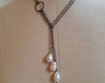 Freshwater Baroque Pearl Oxidized Sterling Chain Lariat Necklace