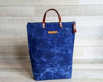 on sale!. WAXED CANVAS BAG, Navy Blue, Comfort UNiSEX Tote, men bag, women bag, Christmas gift, Xmas, for men, for him, Zip Tote Bag