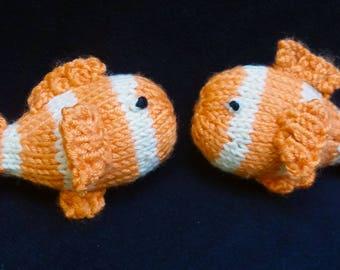 Hand Knit Pair of Clown Fish Hair Barrettes/Clips