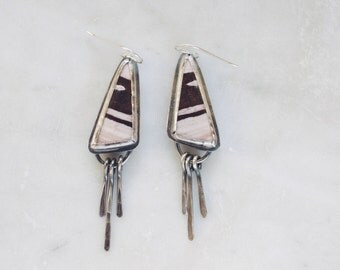 Zebra Jasper and Sterling Silver Dangle Earrings ||| Modern Drops Sterling Fringe