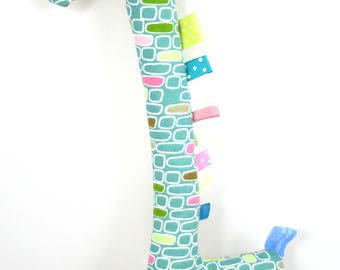 Handmade Taggy Giraffe Tactile Baby Toy - teal bricks & pastel geometric