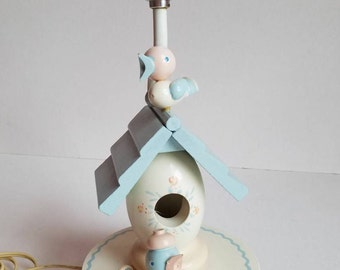 Vintage Irmi Birdhouse Nursery Lamp with Nightlight