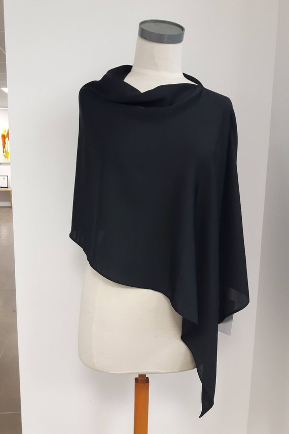 Women clothing, asymetric poncho, medium length, reversible, lightweight semi-sheer polyester, black, one size