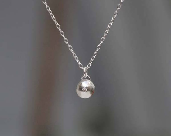Diamond And Silver Pebble Necklace With Sterling Silver, Diamond Gift For Her, April Birthstone Necklace
