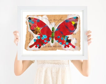 Nursery Art Boho, Red Butterfly, Gender Neutral Nursery, Printable Wall Art, Girls Nursery Art, Boys Nursery Art