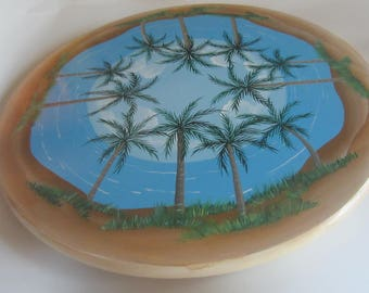 Palm Trees  With a Beach Scene on a Wood Lazy Susan