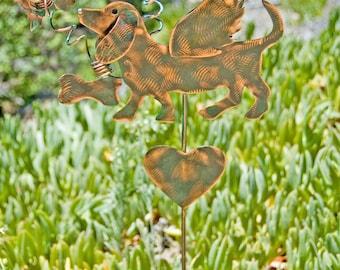 Dachshund Memorial Outdoor Metal Sculpture Garden Stake, Copper Dog Grave Marker, Garden Yard Art Pet Memorial, Metal Garden Art