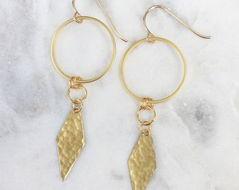 Simple Geometric Earrings | Plated Circle with Hammered Brass Diamond