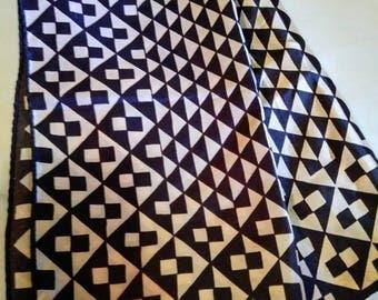 Vintage Vera Neumann Geometric Dark Brown Scarf