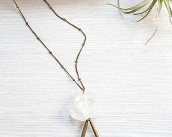 Raw Pink Opal Necklace Clear Quartz Necklace Clear Quartz Pendant Large Quartz Crystal Statement Necklace Raw Gemstone Necklace Dynamo