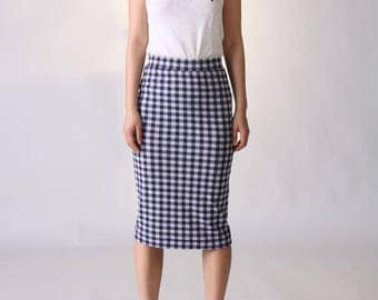 Gingham Pencil Skirt, Blue Midi Skirt, Knit Pencil Skirt, Straight Skirt, Pull On Skirt, Blue Checkered Skirt, Straight Skirt - Blue Gingham
