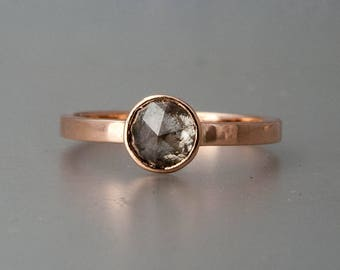 Rose Cut Diamond Solitaire Engagement Ring Handmade in 14k Gold - Choose Your Diamond and Gold Color