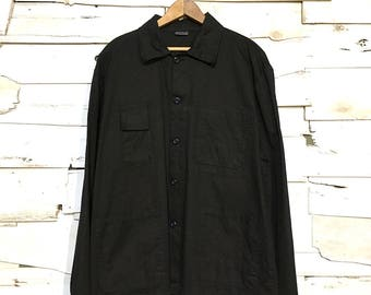 Vintage European Work Jacket Black Chore Coat - Large