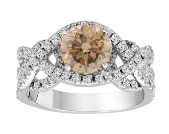 2.34 Carat Champagne Diamond Engagement Ring, Fancy Wedding Ring Unique 14K White Gold Certified Handmade