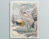 Marais La Nuit Letterpress Poster Heron Bird Linoleum Block Pressure Print