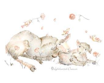 Sheep nursery, sheep painting print, Baby Girl nursery, New Mom Gift, Sheep Nursery Art, baby girl gift, pink, gray, yellow