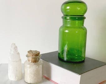 Vintage Apothecary Jar Emerald Green