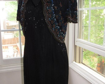 Beaded Black Dress, Small, 4