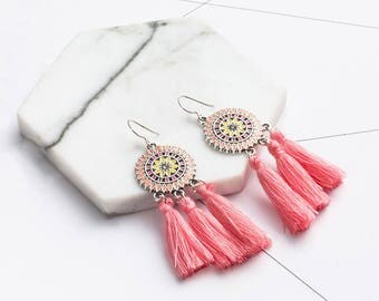 Coral pink tassel earrings - surgical steel earrings, turquoise, coral pink or purple earrings, stainless steel earwires nickel free
