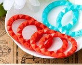 Vintage Lucite Hoops Orange and Turquoise Lucite Hoop Pendant Beads 40mm