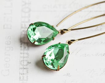 Mint Green Rhinestone Drop Earrings on Long Antiqued Brass Marquise Wires