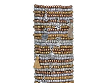 Beaded Bracelets Set of 30 Seed Bead Stretch Bracelets Bohemian Themed Stack with Charms and Tassels Metallic Colors
