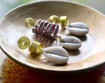 Jewelry for Locs, Cowrie Shell Dreadlock Jewelry, Braid Jewelry, Cowry Shell Hair Accessories, Gold Hair Coils for locs, Spiral Dread Sleeve