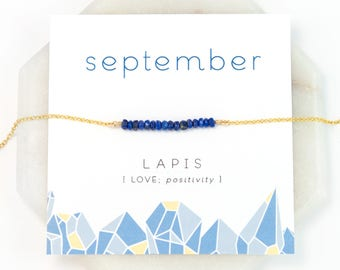 September Birthstone Necklace, Lapis Lazuli Necklace Boho, Healing Stone Necklace, Gift Ideas for Friends, Blue Lapis, Personalized Presents