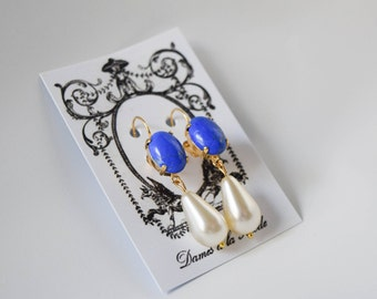 Lapis Blue and Pearl Earrings, Lapis Lazuli Earring, Regency Jewelry, Georgian Earrings, Lapis Earring, Pearl 19th Century Victorian Jewelry