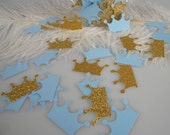 Royal Prince Crown Confetti - Gold & Light Blue - Baby Boy First Birthday Decoration, Royal Prince Party Decoration, It's a Boy Shower
