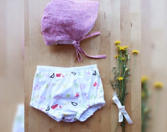 Baby girl clothes, baby girl outfits, baby girl gift, baby girl outfit set, baby girl bonnet, diaper cover. Ethical clothing, made in Italy