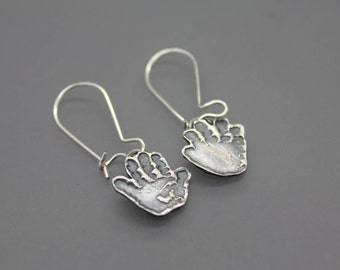 Actual Hand Prints, Hand Print Earring, Baby Handrints, Baby Footprints, Footprint, Silver Handprint, Memorial Jewelry, Push Present, Custom