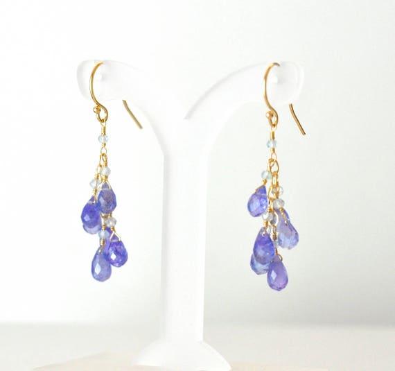 14K Gold. Tanzanite earrings, December Birthstone Earrings, Tanzanite & Sky Blue Topaz Earrings, Purple Blue Stone Earrings, Gift For Her