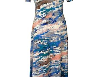 Summer Maxi Dress, Plus Size Dress, Watercolor, A-Line Maxi Dress, Short Sleeves Dress, Printed Maxi Dress, Cotton Dress, Designers dress