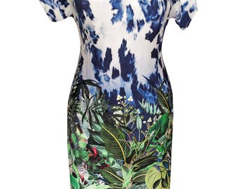 Summer Dress, Plus Size Dress, Jungle, Floral Jersey Dress, Short Sleeve Dress, Cotton Dress, V Neck Dress, Day Dress, Designer Dress