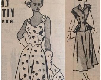 "Vintage 1950s Marian Martin Sundress and Short Sleeve Jacket Pattern T9469 Size 12 (30"" Bust) XXS"