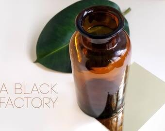 Vintage amber glass jar, medicine bottle, brown glass decor