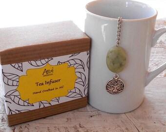 Tree of Life, Tea Infuser, Lead Free Charm, Green Serpentine, Wicca, Folklore, Tea Gift, Spirit, Hope, Mythology, Seed of Life, Family Tree