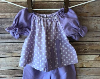 Free Shipping-Purple & White Polka Dots and short Flannel Pajama set, Baby Girl Clothes, Toddler Girl Clothes,