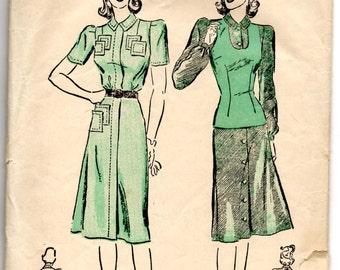 "1940's Advance Shirtwaist Dress with Patch Pocket detail and Jerkin Pattern - Bust 34"" - No. 2599"