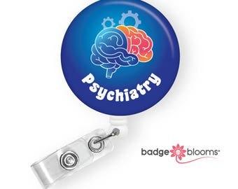 Psychiatry Badge Holder - Psychiatrist ID Badge Pull - Psych Unit Nurse - Psychiatric Department Staff Gift - Brain Badge Clip - BadgeBlooms
