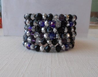 6 Row  Memory Wire Cuff Bracelet Bracelet with Clear, Silver and Black Crystal Beads