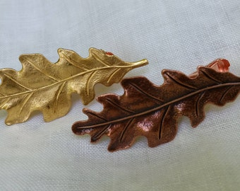 MAPLE OAK LEAVES Tie Clip Bars Fall Autumn Wedding Groom Groomsmen Accessories Gift Rustic Woodland Copper Gold Outdoors Men Country Wedding